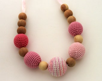 Pink Shades Mom Nursing necklace / Teething necklace