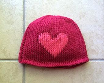 Crochet adult heart hat