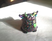Cute Rainbow Stained Glass Snaggle-Fanged Winged Monster Pudgie