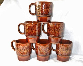 Six Stacking Vintage Coffee Mugs Made in Japan