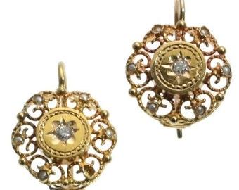 20% Off Valentine Sale Antique Earrings Victorian drop earrings old mine cut diamonds seed pearls 18k rose gold ca.1880