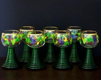 German Rhein Wine Glass Roemer With Gold Rim