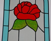 Stained Glass Panel, Arched Rose, Tiffany Style, Privacy Panel, Unique, Transom