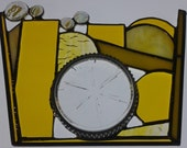 Stained Glass Panel, Yellow Stained Glass, Nuggets, 3-D, Privacy Panel, Colored Glass, Cut-Glass Tray