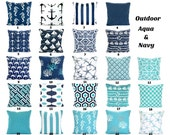 OUTDOOR Aqua Navy Pillow Covers, Beach Decor, Nautical Cushions, Ocean Blue Oxford Navy White Patio Boat Sun Room ALL SIZES Mix & Match