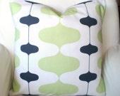Green Charcoal Gray Pillow Covers, Decorative Throw Pillows, Cushions, Kiwi Green Grey Charcoal White Retro Pattern Ivon, One ALL SIZES