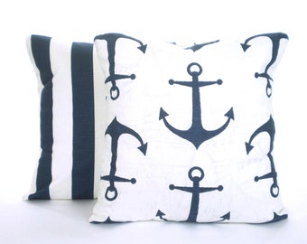 Cushion Covers, Decorative Throw Pillows, Nautical Premier Navy Blue White, Decorative Pillows, Beach Cottage, Set of  Two Various Sizes