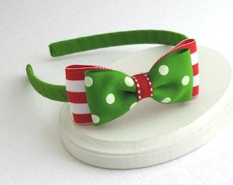 Girls, Toddler Christmas Headband, Hard Headband, Red and Green Bow Headband, Christmas Hair Bow Headband