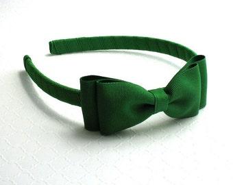 Emerald Green Bow Headband, Toddler Headband, Girls Headband, Christmas Headband