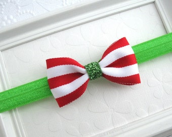 Baby Christmas Headband, Christmas Hair Bow, Glitter Bow, Simple Christmas Bow for Newborns, Infants, Toddlers, Girls