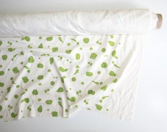 Snack Time | Organic Interlock Knit Fabric | Yardage | Organic Cotton | Screen Printed | Hand Printed | Fruit | Veggies | Cheese | Hipster