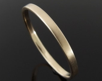 Flat Profile 14k Yellow Gold Band Ring, Gold Wedding Band, Gold Wedding Ring, 14k Gold Ring, Satin Finish, 2 x 1 mm