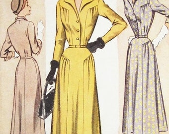 ON SALE Vintage 1940s Dress Pattern - McCall 7854 - Misses' One Piece Dress - Sz 16/Bust 34