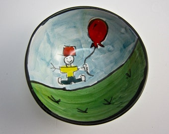 Cereal Bowl - Small Serving Bowl - Little Boy with Red Balloon - Majolica Pottery Bowl - Ice Cream Bowl - Funny Bowl - Ceramic Dish