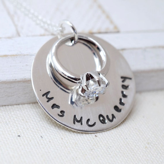 Personalized Sterling Silver Solitaire Engagement Ring Necklace - Bridal Shower/Bachelorette Party Gift - Custom Wedding Jewelry Keepsake