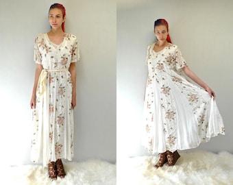 90s Lace Floral Dress //  90s Gauze Maxi Dress  //  THE DENTELLE