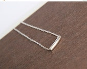 Sterling Silver Necklace,Bar Necklace,Delicate Silver Necklace,Tiny Tube,Silver Necklace,Everyday Necklace,Simple Necklace