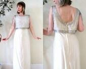 BIG ASS SALE vintage 60s wedding gown bridal dress beaded silk shantung low back Audrey Hepburn