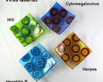 Virus Set of Four Fused Glass Bowls Made to Order
