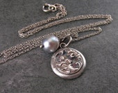 Silver cupid pendant, handmade recycled fine silver cupid button necklace with Akoya saltwater pearl-OOAK