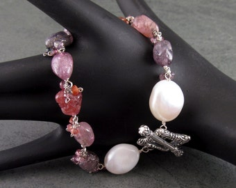 Spinel bracelet, handmade baroque pearl, multi spinel nuggets, and sterling silver toggle bracelet-OOAK