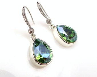 bridal earrings bridesmaid gift party olivine ab fancy rhinestone teardrop swarovski crystals silver frame rhodium silver hook earrings