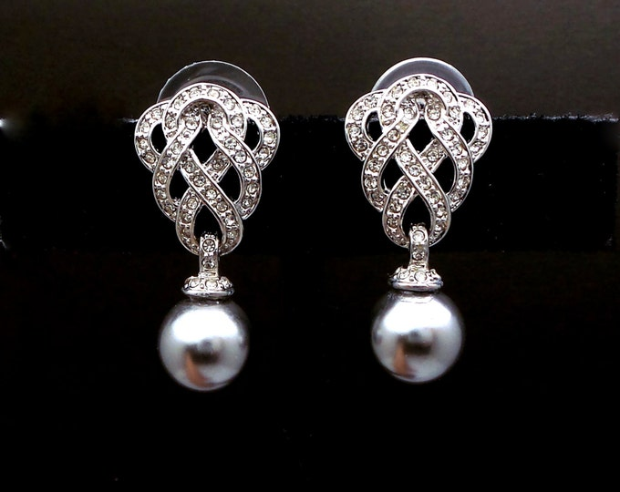 Bridal wedding earrings jewelry bridemaid gift 10mm grey white or soft cream round pearl braided pave marcasite cubic zirconia post earrings