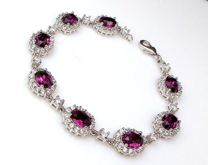 bridal bracelet wedding jewelry bridesmaid christmas party gift swarovski rhinestone oval amethyst purple cubic zirconia bracelet
