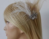 Birdcage Veil ,Champagne peacock ,Feathers Fascinator