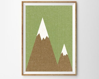 The Mountains are Calling Print, Tribal Print, Mountains Prin, Large Wall Art, Green, Boho, Rustic, Oversized Art, Trending Items, Trending