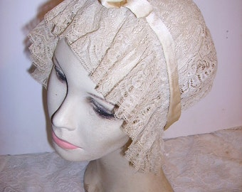 Fabulous Vintage 1920's French Net Lace Boudoir Night Cap Bonnet Flapper Girl