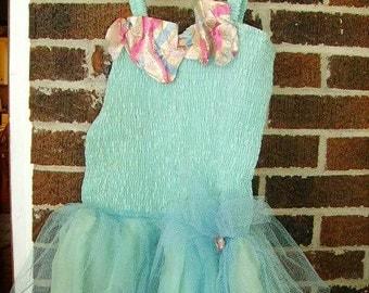 Vintage Turquoise Tulle Girl's Ballet Tutu Costume/Smocked Bodice/Metal Zipper/ 1960's