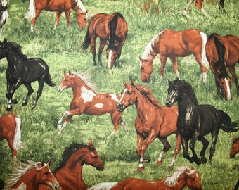 "Stunning HORSE FABRIC! Beautiful Horses in Pretty Green Grass Pasture ""Run Free"" Collection"