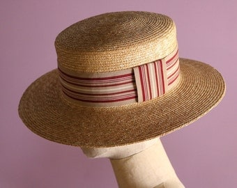 "Wide brimmed straw Boater with stripes ""Fred Stripes"""
