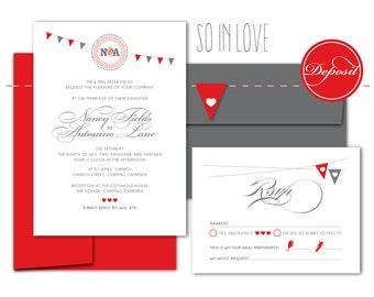 Mini-flag eco wedding invitation: Bunting Romance / Handmade flag wrap around + baker's twine, red and grey, fancy calligraphy, monogram