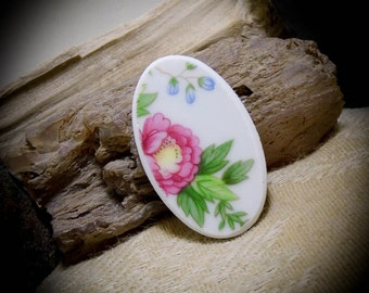 Pink Flowers China Free Form Hand Cut Cabochon 41 mm 05