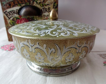 Vintage floral gold DECORATIVE TIN - Made in ENGLAND