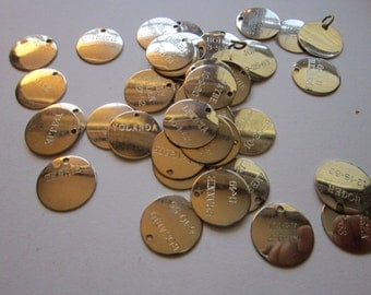 45 vintage metal tags - engraved with names, dates