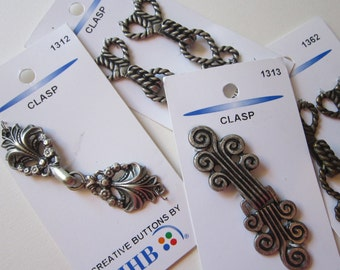 6 clasps - JHB notions - metal clasps - closures