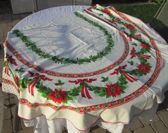 vintage oval Christmas tablecloth - holiday tablecloth - 58 x 84 inches - as is