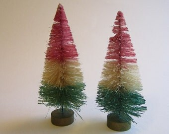 2 hand dyed bottle brush trees - PINK, AQUA, CREAM - 4.25 inches - sisal trees - pink and aqua