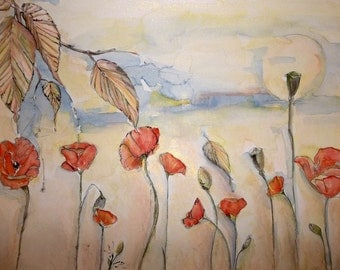 Poppy Dawn Origina; watercolor, ink and pastel on crescent watercolor board 16x20 inches