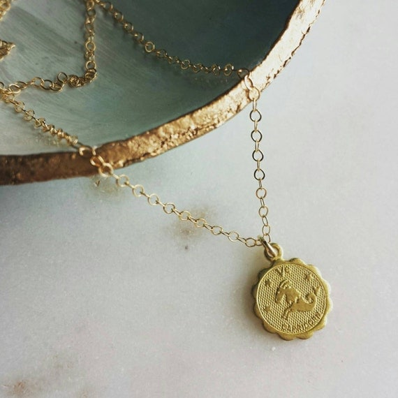 Capricorn necklace, brass astrological charm necklace with gold filled chain, sleek modern jewelry