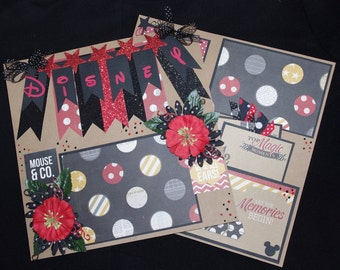 Disney 2~12x12 Premade Scrapbook Layouts, journal tags