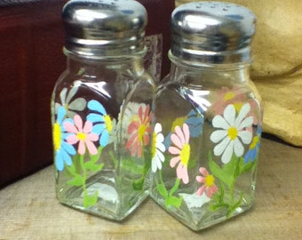 Colorful Graphic Flower Painted Glass large Salt & Pepper Shakers