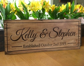rustic wood sign Personalized Distressed Carved Name Sign,  Rustic Barn Wedding Sign, Personalized Wedding Gift, Last Name Wood Sign,