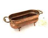 Valentine Sale Solid Copper Planter / Footed Copper Planter / Copper Decor/ Copper pot / Copper Saucepan