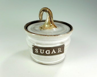 Ceramic sugar bowl - pottery sugar storage jar - stoneware sugar bowl with lid - ceramic sugar jar - pottery sugar bowl with SUGAR