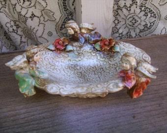 Vintage Ceramic Hand Painted Cherub Angel Trinket Dish-Majolica Italy