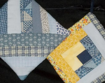 POTHOLDERS #34 Split String Log CabinTraditional Quilt Design, Blues Yellow Scrappy, GA Mountain Made, Abstract Beach Loft Decor